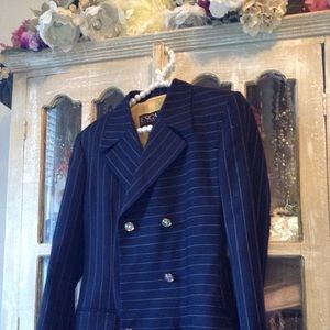 Escada pinstriped navy blazer w/embellished button